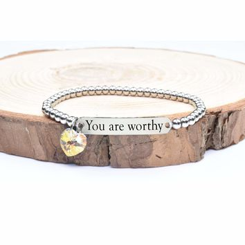 Beaded Inspirational Bracelet With Crystals From Swarovski By Pink Box - You Are Worthy