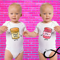 Peanut Butter and Jelly Gerber Onesuit Twin Set ®