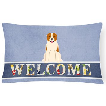 Central Asian Shepherd Dog Welcome Canvas Fabric Decorative Pillow BB5630PW1216