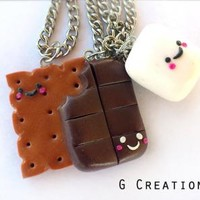 Smore Inspired Best Friends Necklace - Set of 3 - Realistic Food Miniature Jewelry - Handmdade Sweet Polymer Clay Necklace - Cute Gift