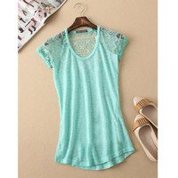 SHORT SLEEVE TURQUOISE TOP / BLOUSE