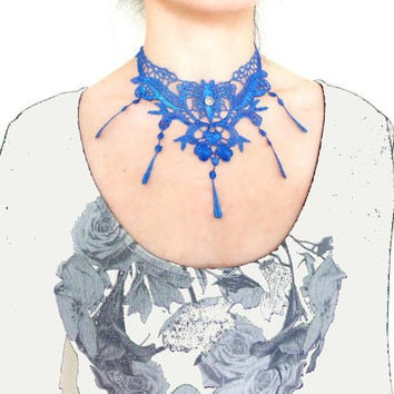 Sale large lace choker necklace vintage hand dyed blue  butterfly flower Victorian  steampunk handmade fringe gothic fantasy jewelry gift