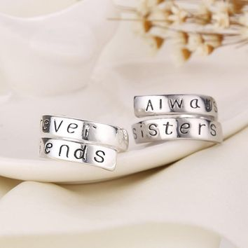 Pairs Ring With Letter Best Gift For Sisters Best Friends silver color Plated Rings For Women