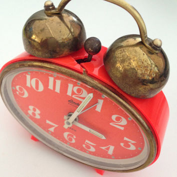 Vintage Orange German Alarm Clock