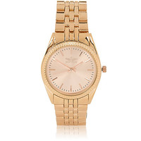 River Island MensRose gold tone simple face chain watch