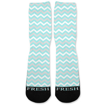 Chevron Tiffany Blue Custom Athletic Fresh Socks