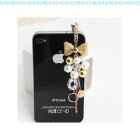 Earphone Jack Accessory Gold Plated Pink Flowers Golden Bow Crystal Golden Beads Pearl / Dust Plug / HTC / Ear Jack For Iphone 4 4S / Samsung / iPad / iPod Touch / Other 3.5mm Ear Jack:Amazon:Cell Phones & Accessories