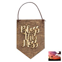 Apartment Decor - Home Office Sign - Bless This Mess - Dorm Room Decor - Faith Art - Gallery Wall Decor - Cute Signs - Religious Decor