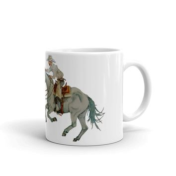 Calf Roping Coffee Mug, Cowboy In Pursuit by Deja Wolfe, Western Design,