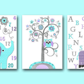 Lavender Gray Aqua Alphabet Nursery Print Baby Room Decor Baby Nursery Decor Baby Girl Nursery Decor Kids Wall Art Kids Art set of 3 8x10