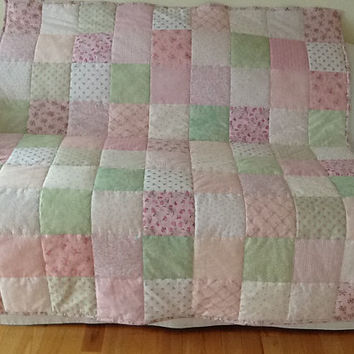 Shabby Chic, Green and Pink Minky Lap Quilt, Throw Handmade 53 x 59 inches Free Shipping to Canada & USA