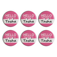 Tasha Hello My Name Is Plastic Resin Button Set of 6