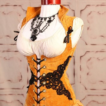 Waist 29 to 31 Buttery Gold with Black Venise Lace Vixen Corset