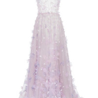 Tulle Embroidered Gown with Embroidered Flowers | Moda Operandi