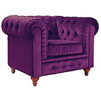 Classic Scroll Arm Large Velvet Living room Accent Chair in Colors Black, Red, Purple, Grey (Purple)