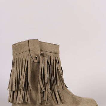 Suede Double Layered Fringe Moccasin Booties