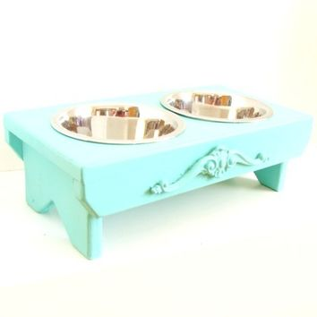 Dog Feeder Bowl Holder Cat Feeder Elevated Feeding Station Aqua Blue Beach Cottage French Country