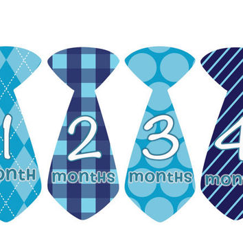 Monthly Onesuit Stickers Baby Month Stickers Boy Blue Argyle Tie Onesuit Sticker Monthly Onesuit Sticker Baby Shower Gift Photo Prop Owen2