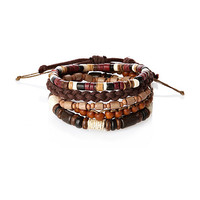River Island MensBrown wrist beads