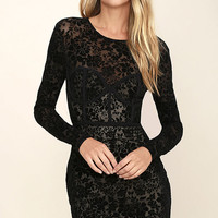 Cor-Set to Go Black Burnout Velvet Print Dress