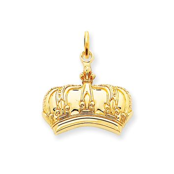 14k Yellow Gold Fleur De Lis Crown Charm or Pendant, 20mm (3/4 inch)