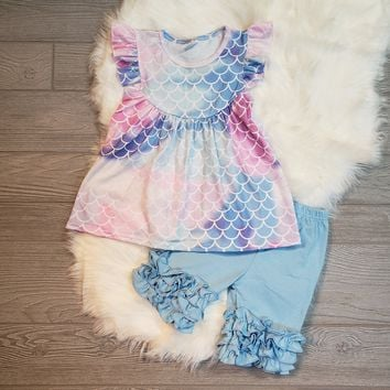 Pastel Mermaid Flutter Sleeve & Shorts Outfit