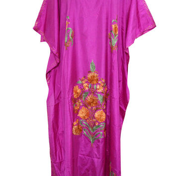 Mogul Boho Silk Kaftan Kashmiri Embroidered Pink Caftan Lounger Dress Xxxl