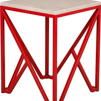 Kory End Table Powdercoated Red With A White Granite Top