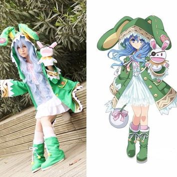 Date A Live Yoshino Cosplay Costume Green Hooded Coat Halloween Costumes for Women Coa