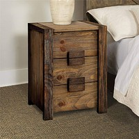 Wooden Nightstand with Three Drawers and Block Handles, Brown