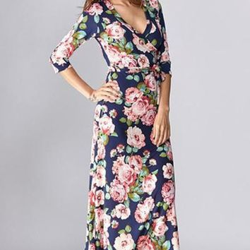 As You Wish Floral Wrap Maxi Dress - Navy