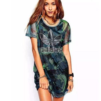 LMFON shosouvenir : 'Adidas' Fashion Green Leaves Feather Movement Leisure Round Neck Short Sleeve T-shir Dress
