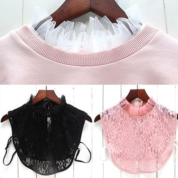 Women New Blouse False Collar Clothes Shirt Detachable Collars Lace Floral