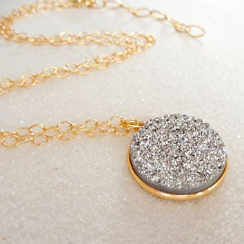 Silver Druzy Necklace in Gold Crystal Pendant- Free Shipping OOAK Jewelry