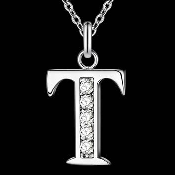 Letter T-Z Free Shipping silver plated Necklace, Stamp 925 fashion silver jewelry Fashion Pendant /XYLQNNAG XYLQNNAG