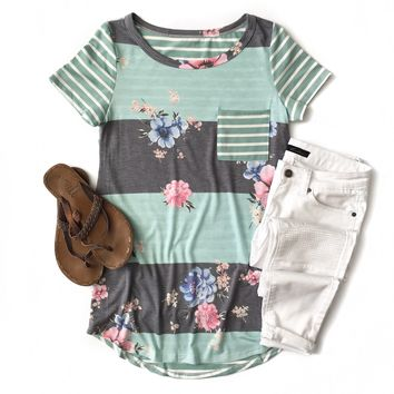 Mint and Blue Striped Floral Top