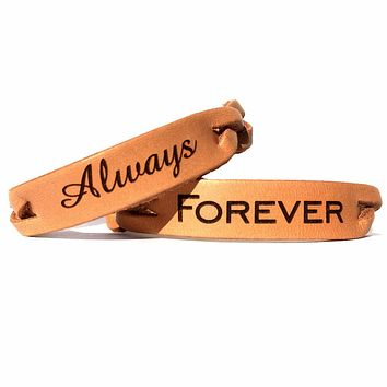 Always & Forever Braided Leather  Couples Bracelet Set