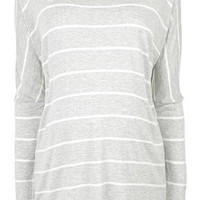 MATERNITY Definitives Striped Top - Grey Marl