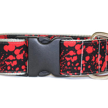 "Blood Spatter Dog Collar- Halloween Pet Collar - Nylon Custom 2"" Dog Collar with Color Options"