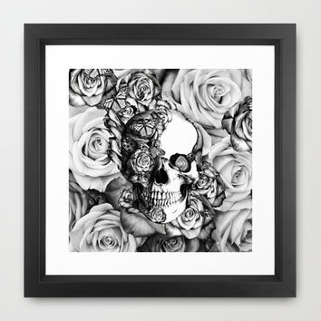 Butterfly rose skull with ladybugs. Good luck Framed Art Print by Kristy Patterson Design