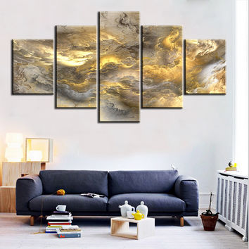 5 pc Set grey and yellow abstract cloud NO FRAME Oil Painting Canvas Prints Wall Art Pictures For Living Room Decorations