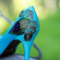 Teal and Peacock Peep Toe Satin Heels 7 by LaPlumeEthere on Etsy