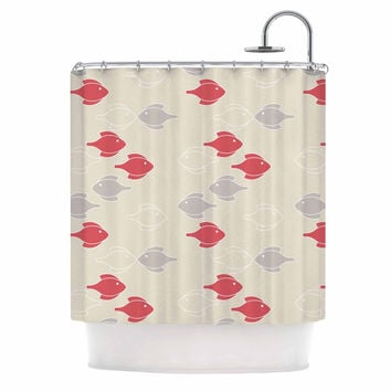 "Gukuuki ""Mayan Fish"" Beige Magenta Shower Curtain"