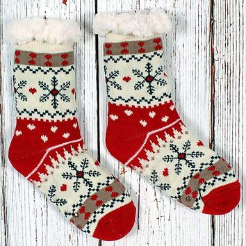 Christmas Sweater Sherpa Lined Socks by Nordic Fleece