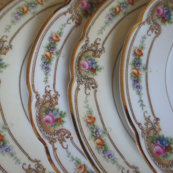 Set of 8 Mismatched Floral Small Plates, B&B Plates, Dessert Plates, Bridal Shower, Tea Party, Wedding Plates
