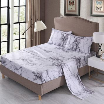 Cool Free shipping elegant marbling marble print bedding set flat sheet fitted sheet pillow case sham US twin queen king sizeAT_93_12