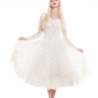 Lace Pouf Tea Length Wedding 50s Dress