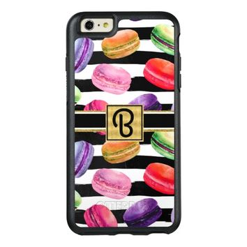 Chic Colorful French Macaron Monogrammed OtterBox iPhone 6/6s Plus Case