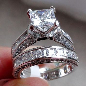 LMFMS6 Wensltd Clearance! 2-in-1 Womens Vintage White Diamond Silver Engagement Wedding Band Ring Set
