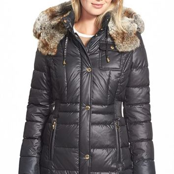 Women's Laundry by Design Quilted Coat with Faux Fur Trim,